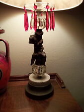 Vintage Patinated Spelter Cherub Table Lamp w/ Hanging Red Prisms Marble Base