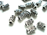 50 TIBETAN SILVER ENGRAVED FLOWER TUBE SPACER BEADS 8mm x 5mm