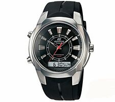 Casio Edifice EFA-128 Black Resin Analog Digital Mens Watch Discountinued New