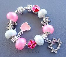Kid's Children European Charm Bracelet Pink beads Hello Kitty, Dog, Elephant S14