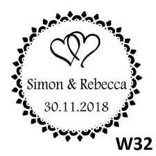 Personalised Custom Self inking Pre inked Thank You Wedding Stamp Round 40mm W32