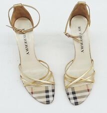 BURBERRY ankle strappy HEELS gold nova check kitten shoe buckle 37 eu / 7 us