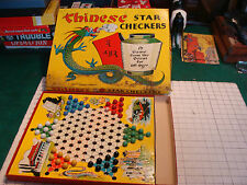 vintage game: 1938 CHINESS STAR CHECKERS: stained box top, missing some marbles