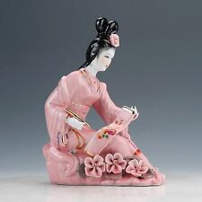 Chinese Famille Rose Porcelain Hand Painted Beautiful Gril Statue D824