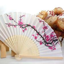 Fashion Folding Fan Delicate Japanese Plum Blossom Design Silk Costume Part Y3