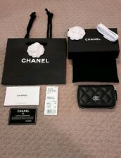 NWT AUTHENTIC CHANEL BLACK LAMB ZIP AROUND COIN PURSE CARD CASE WALLET ,SOLD OUT