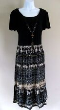 Notations Size M Black & Brown Short Cap Sleeve Dress with Necklace