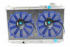 01-05 Honda Civic EM ES 2/4 MT 1.7L D17 2 Row Aluminum Radiator + 2x FAN  Blue