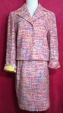 Escada Size 34 Skirt Size 40 Skirt Suit Blazer Bright Tweed Boucle Lined Summer
