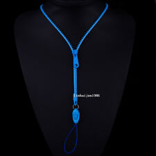 NEW HOT Free shipping zipper necklace Employee's card/key hang rope blue  F52