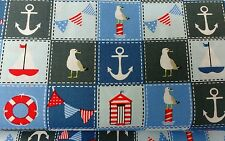 "Nautical bunting sea beach huts cotton​ poplin Fabric 45 ""wide sold by the metre"