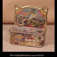 Victorian Paint Decorated Tin Wall Match Safe / Holder Fire Breathing Dragon