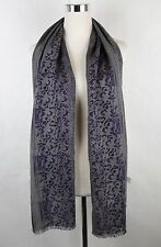 New Bottega Veneta Gray Purple Wool Silk Floral Long Scarf 298564 1270