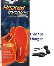 ThermaCell Heated Insoles Shoe Boot Foot Warmer + CAR CHARGER LARGE THS01-L NEW!