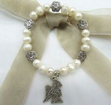 """8mm Fresh Water Pearl with Angel Praying Charm 7"""" Stretch Bracelet US Seller!!"""