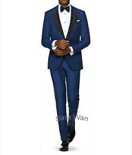 Custom Made Blue Men Suit Smoking Lapel,Tailored Blue Men Tuxedo,Wedding Tuxedo