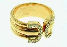 CARTIER 18K  ROSE  GOLD   DOUBLE  C  DIAMOND    RING