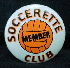 Vintage Soccerette Club Member Pin Pinback Orange Soccer Ball