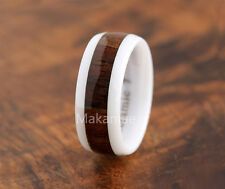 8mm White Ceramic Inlaid Koa Wood  Wedding Ring