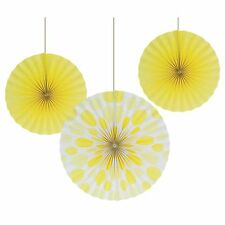 3 Mimosa Yellow  Polka Dot Party Round Paper Hanging Fan Decorations