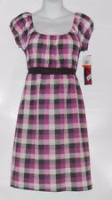 Fleurish Junior Plaid Empire Waist Peasant Dress Purple Small (S) NWT