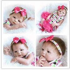 Full Body Silicone Vinyl Waterproof Baby Lifelike Reborn Girls Dolls 57cm/22""