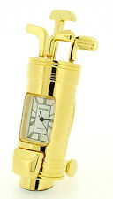 Novelty 7cm Gold Metal Golf Day Bag Clock Gift Birthday Present Father Grand Dad