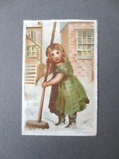 ANTIQUE Greetings Card Merry Christmas Girl Sweeping Snow Short Sleeves CHROMO