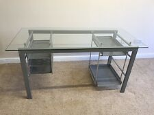 Modern Computer Desk Study Work Office PC Laptop Glass Table Great Condition