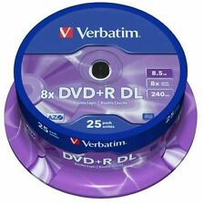 VERBATIM DVD+R 8,5 GB 8x Speed 240MIN Printable DUAL LAYER SPINDLE PACK 25 (43667