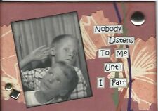 ACEO Art Card Collage Boys Children Brother Family Friends Listen Fart Humor