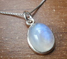 Blue Rainbow Moonstone Pendant 925 Sterling Silver Corona Sun Jewelry New