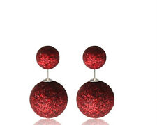 DOUBLE RED GLITTER SPARKLE, BALL PEARL STUD EAR PLUG EARRING