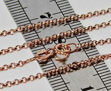 9 CT ROSE GOLD ON SILVER SOLID 28inch BELCHER LINK CHAIN - 3.9 grams