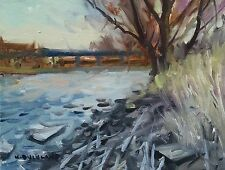 KYLE BUCKLAND RIVER BRIDGE MORNING SPRING​ ART IMPRESSIONISM DAILY oil PAINTING