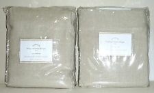 "POTTERY BARN Belgian Flax Linen 50 x108"" UNLINED Drapes- SET OF 2 - NATURAL- NEW"