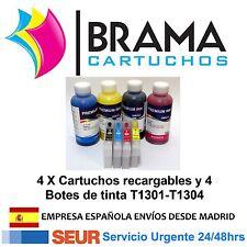 4X CARTUCHOS RECARGABLES Y 4 BOTES DE TINTA NONOEM EPSON T1301 WF3520 WF7515