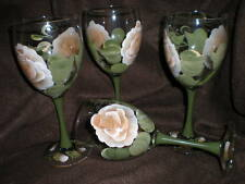 HAND PAINTED CHOCOLA TE ROSE GOBLETS / SET OF 4- 10 OUNCES EACH