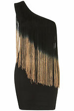 Topshop one shoulder fringe dress by Rare UK 8 in Black ( New with tags )