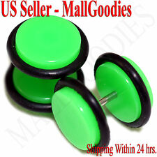 "2041 Neon Lime Green Fake Cheater Illusion Faux Ear Plugs 16G 7/16"" = 11mm 2pcs"