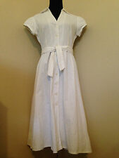 MICHAEL KORS WHITE EYELET VINTAGE STYLE DRESS WITH CAP SLEEVES  WOMENS  SIZE 8