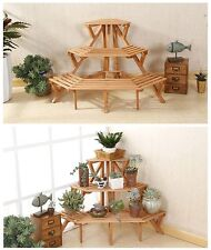 Corner Flower Pot Stand Wood 3 Tier Garden Rack Space Plant Display Shelf Decor