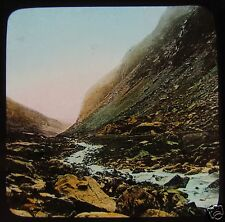 Glass Magic Lantern Slide LLANBERIS PASS FROM PONT-Y-CROMLECH C1890 WALES