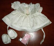 CABBAGE PATCH KIDS HTF TAGGED  WHT W PINK TRIM DRESS, WHT SHOES, PINK SOCKS