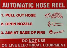 AUTOMATIC HOSE REEL SIGN RIGID PLASTIC PRINTED 160x 110 MM SAFETY DIY
