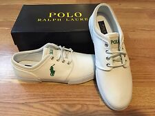 Polo Ralph Lauren big pony suede accent Faxon shoes sneakers red white orange