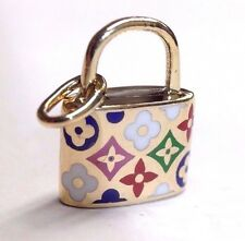 Adorable! Solid 14K Yellow Gold Colorful Enamel Designer Pattern Lock Charm