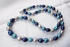 "HONORA BEAUTIFUL BLUE MOON  20"" GRADUATED RINGED PEARL NECKLACE NEW"