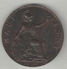 Great Britain, 1903, 1/2 Penny, Bronze, Km#793.2, Extra Fine-Almost Uncirculated