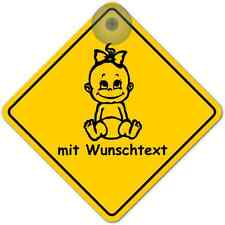 Road Sign mit Saugnapf Baby on Board Wunschname NEU 2